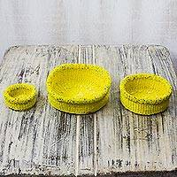 Raffia and recycled plastic decorative baskets, 'Eco Yellow' (set of 3) - Raffia and Recycled Plastic Decorative Baskets (Set of 3)