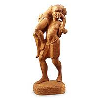 Teak sculpture, 'Remember Beijing' - Hand Carved Original Teakwood Sculpture