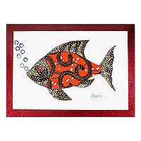 'Fish in Saffron' - Cotton Accented Fish Painting in Saffron from Ghana