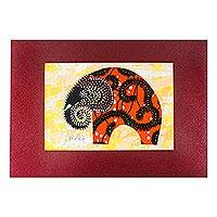 'Saffron Elephant' - Signed Cotton Accented Elephant Painting in Saffron