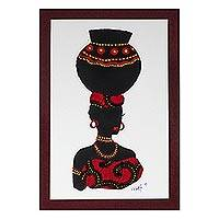 'Yaa in Red' - Painting of an African Woman with Red Cotton Accent