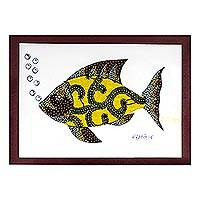 'Fish in Yellow' - Modern Fish Painting with Printed Cotton Accent in Yellow