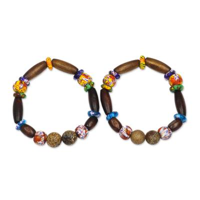 Wood and recycled glass beaded stretch bracelet, 'Eco Reverence' - Dark Brown Sese Wood and Recycled Glass Stretch Bracelet
