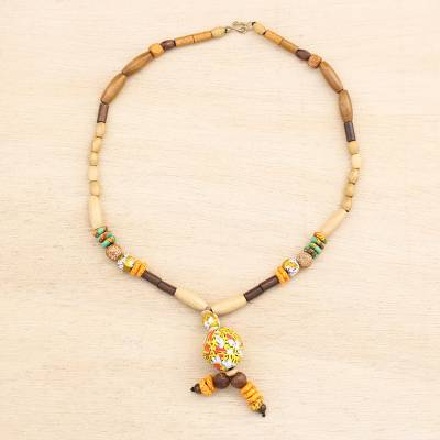 Wood and recycled glass beaded pendant necklace, 'Beautiful Intuition' - Wood and Recycled Glass Beaded Pendant Necklace from Ghana