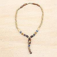 Wood and recycled glass beaded Y-necklace, 'Exemplified Beauty' - Y-Necklace Made from Wood and Recycled Glass Beads