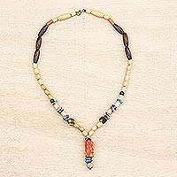 Wood and recycled glass beaded Y-necklace, 'Realm of Beauty' - Wood and Colorful Recycled Glass Beaded Y-Necklace