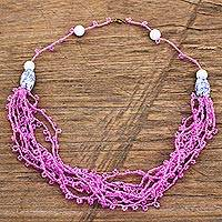 Recycled glass and plastic beaded torsade necklace, 'Pink Yram' - Pink Recycled Glass and Plastic Beaded Torsade Necklace