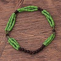 Recycled glass and plastic beaded torsade necklace, 'Eco Lebene' - Green Recycled Glass and Plastic Beaded Necklace from Ghana