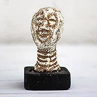 Ceramic sculpture, 'Jolly Head' - Handcrafted Beige Ceramic Head Sculpture from Ghana