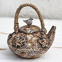 Ceramic decorative teapot, 'Butterfly Vessel' - Butterfly-Themed Ceramic Decorative Teapot from Ghana