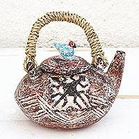 Ceramic decorative teapot, 'Siamese Crocodiles' - Adinkra-Themed Ceramic Decorative Teapot from Ghana