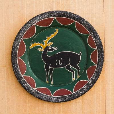 Wood decorative plate, 'Watchful Deer' - Deer-Themed Sese Wood Decorative Plate from Ghana