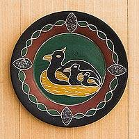 Wood decorative plate, 'Duck Family' - Duck Motif Wood Decorative Plate from Ghana
