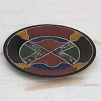 Wood decorative plate, 'Colorful Cross' - Colorful Sese Wood Decorative Plate Crafted in Ghana