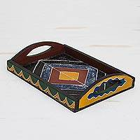 Wood decorative tray, 'Colorful Diamond' - Colorful Diamond Motif Sese Wood Decorative Tray from Ghana