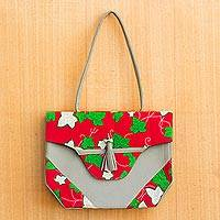 Cotton tote, 'Ivy Leaves' - Faux Leather Accented Leaf Motif Cotton Tote from Ghana