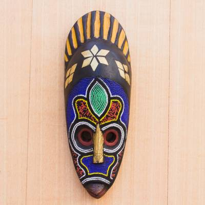 African beaded wood mask, 'Awuradi Gyimi' - African Wood Mask Beaded with Colorful Recycled Plastic