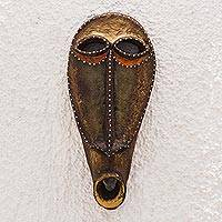 Recycled African mask, 'Nokofio' - Unique Recycled African Mask in Brown from Ghana