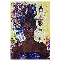 'African Princess' - Signed Expressionist Painting of a Fashionable Woman
