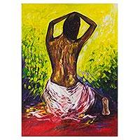 'Beautiful Gesture' - Signed Expressionist Painting of a Woman from Ghana