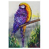 'Pride of Feathers' - Expressionist Painting of a Purple and Yellow Parrot