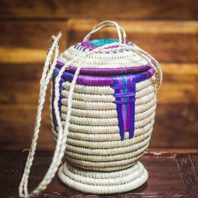 Raffia basket, 'Stunning Homestead' - Handwoven Raffia Hanging Basket from Ghana