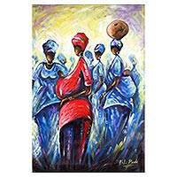 'Women of Substance' - Signed Expressionist Painting Depicting African Women