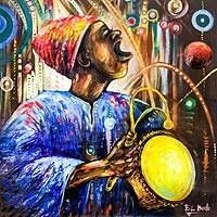 'Music in My School' - Signed Music-Themed Expressionist Painting from Ghana