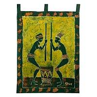Cotton batik wall hanging, 'Abaa Ye Nii' - Fair Trade Cotton Batik Wall Hanging