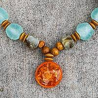 Recycled glass and wood beaded pendant necklace, 'Eco Anonyam' - Beaded Pendant Necklace with Recycled Glass and Wood