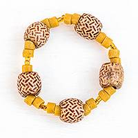 Recycled glass and wood beaded stretch bracelet, 'Rich in Beauty' - Yellow Recycled Glass and Wood Beaded Stretch Bracelet
