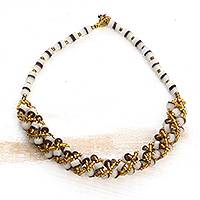 Recycled glass beaded torsade necklace, 'Lively Beauty' - Gold-Tone and Brown Recycled Glass Beaded Torsade Necklace