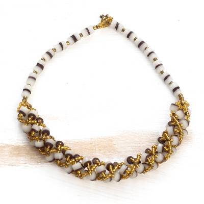 Recycled glass beaded torsade necklace, Lively Beauty