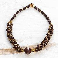 Recycled glass beaded torsade necklace, 'Nhyira Glory' - Brown and Gold-Tone Recycled Glass Beaded Torsade Necklace