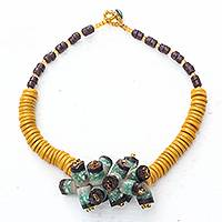 Glass beaded pendant necklace, 'Eco Cluster' - Recycled Glass Beaded Cluster Pendant Necklace from Ghana