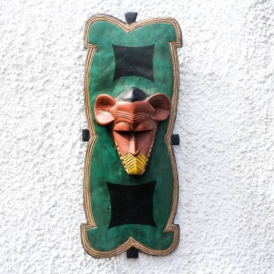 African wood mask, 'Serious Monkey' - Sese Wood Monkey African Mask from Ghana