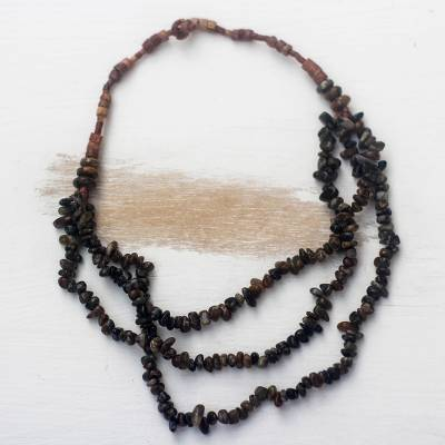 Soapstone and bauxite beaded strand necklace, 'African Love' - Soapstone and Bauxite Beaded Strand Necklace from Ghana