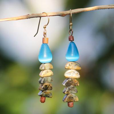 Cats eye and soapstone beaded dangle earrings, Natural Half-Circles
