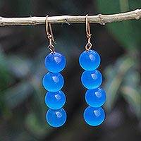 Cat's eye beaded dangle earrings, 'Oceanic Orbs' - Blue Cat's Eye Beaded Dangle Earrings from Ghana