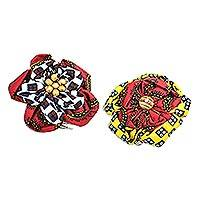 Cotton hair pins, 'African Color' (pair) - Printed Cotton Hair Pins from Ghana (Pair)