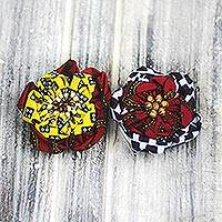 Cotton hair pins, 'African Fashion' (pair) - Sese Wood Beaded Cotton Hair Pins from Ghana (Pair)