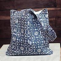 Batik cotton tote, 'Smoke Star Burst' - Star Motif Batik Cotton Tote in Smoke from Ghana