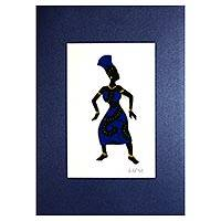 'The Dance I' - Signed Mixed Media Painting of a Woman Dancing from Ghana