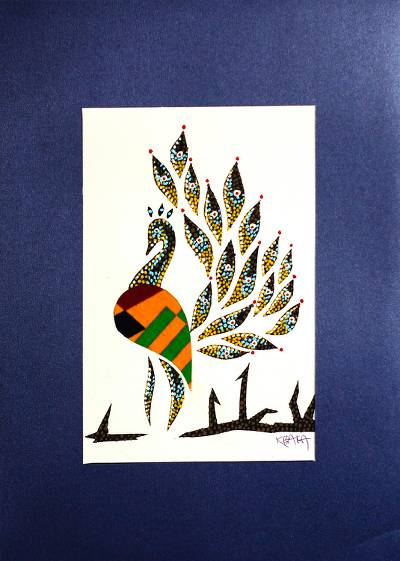 'Peacock' - Signed Mixed Media Painting of a Peacock in Orange