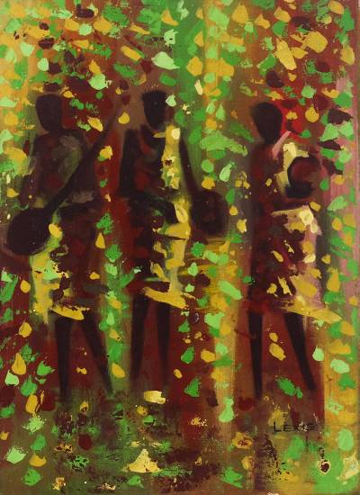 'Red, Gold, Green' - Colorful Signed Expressionist Painting from Ghana