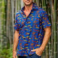 Men's cotton shirt, 'Colorful Yarn' - Yarn Motif Men's Printed Cotton Shirt from Ghana