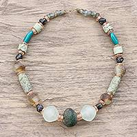 Recycled glass beaded necklace, 'God's Earth' - Recycled Glass Beaded Necklace Crafted in Ghana