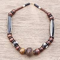 Recycled glass and bone beaded necklace, 'Eco Dromo' - Recycled Glass and Bone Beaded Necklace Crafted in Ghana