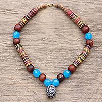 Agate and ceramic beaded pendant necklace, 'Gye Nyame Blue' - Eco-Friendly Agate and Ceramic Beaded Pendant Necklace