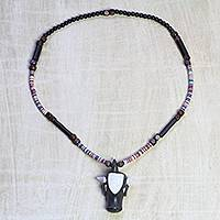 Wood and recycled glass beaded pendant necklace, 'Great Buffalo' - Wood and Glass Beaded Buffalo Pendant Necklace from Ghana